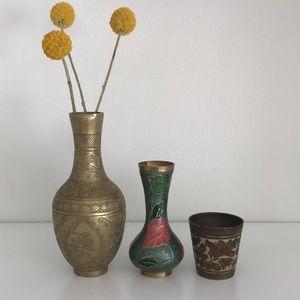 Small Vintage Brass Vases (3)